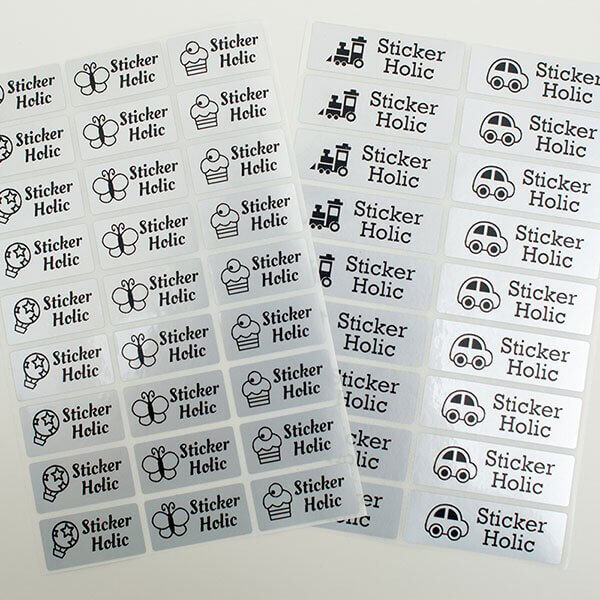 Sticker holic sticky name labels black silver