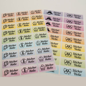 sticker holic sticky name labels - pastel perl