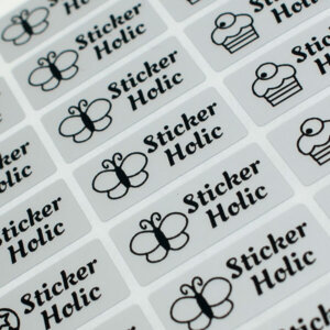 sticker holic sticky name labels - black & silver