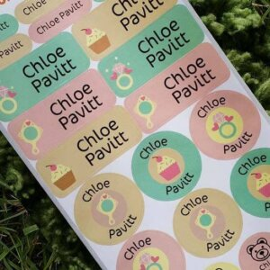 sticker holic sticky name labels - girlish