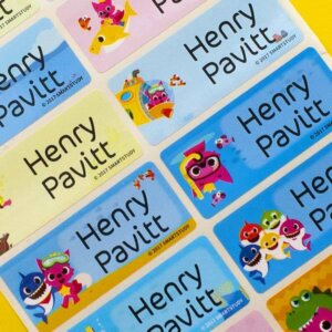 baby shark name labels school labels